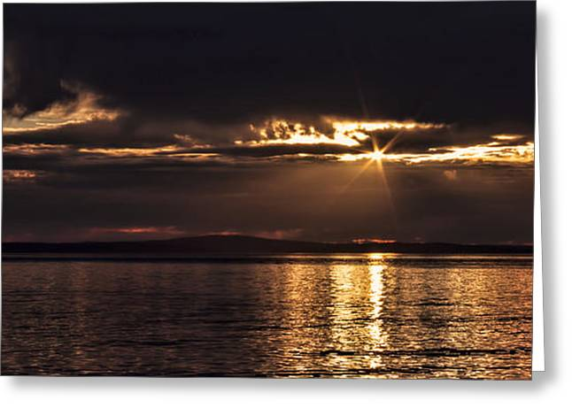 Deception Beach Greeting Cards - Setting Sun on Whidbey Island Greeting Card by Jeff Swanson