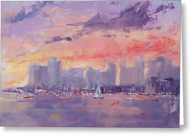 New England Ocean Greeting Cards - Setting Sun over Boston  Greeting Card by Laura Lee Zanghetti