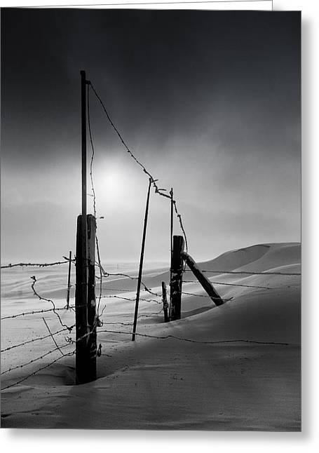 Mid West Landscape Art Greeting Cards - Setting Sun over Drifting Snow North Dakota Winter Greeting Card by Donald  Erickson