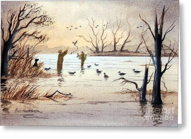 Unlimited Greeting Cards - Setting The Decoys II Greeting Card by Bill Holkham