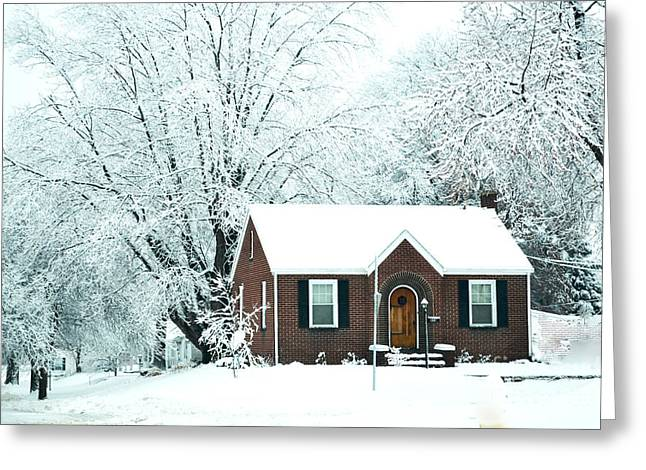 Ice-skating Greeting Cards - Settled In For The Winter Greeting Card by Luther   Fine Art