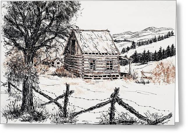 Old Cabins Drawings Greeting Cards - Settlers Cabin Greeting Card by Judy Sprague