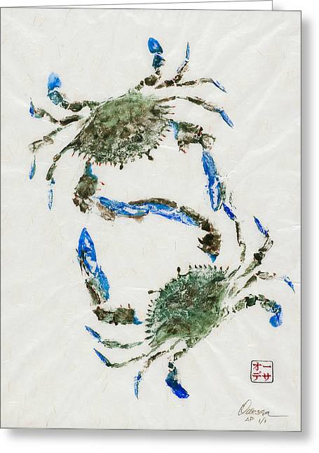 Gyotaku Greeting Cards - Settling Differences Greeting Card by Odessa Kelley