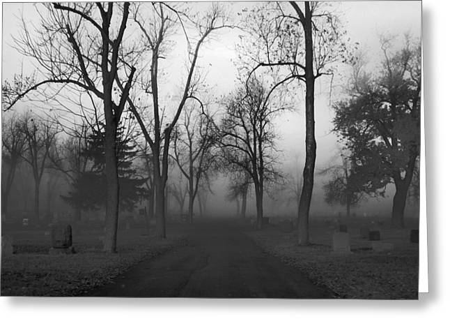 Graveyard Road Greeting Cards - Settling Fog Greeting Card by Gothicolors Donna Snyder