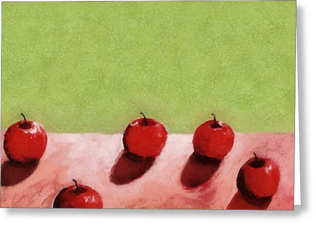 Tabletop Digital Art Greeting Cards - Seven Apples Greeting Card by Michelle Calkins