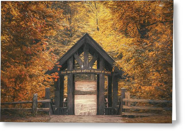 Covered Bridge Greeting Cards - Seven Bridges Trail Head Greeting Card by Scott Norris