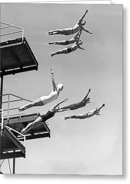 Seven Champion Diving In La Greeting Card by Underwood Archives