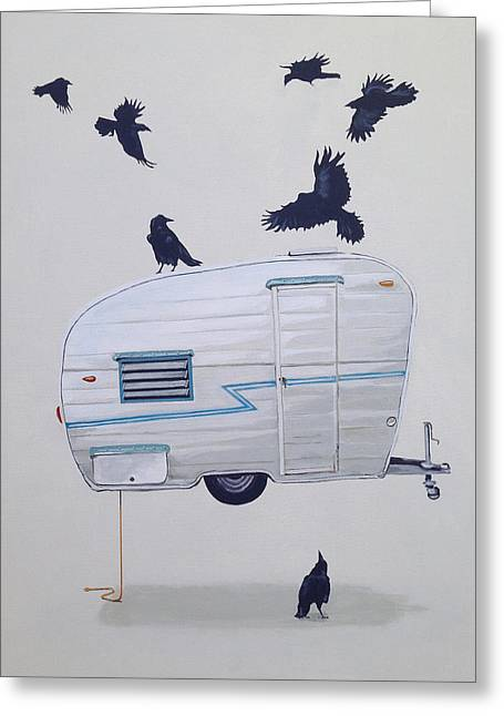 Seven Crows And A Canned Ham Greeting Card by Jeffrey Bess