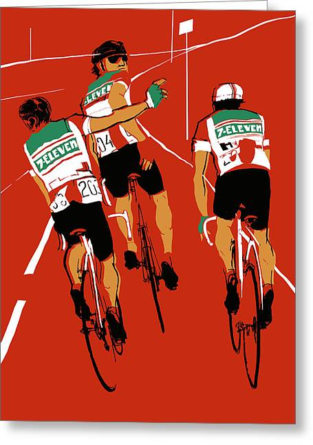 Bike Race Greeting Cards - Seven Eleven Greeting Card by Eliza Southwood