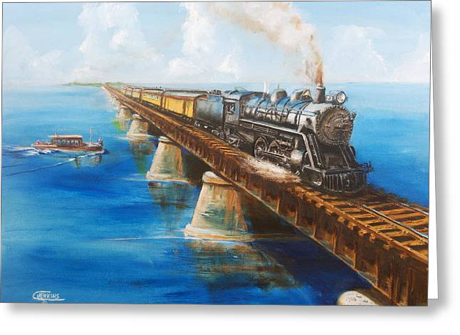 Passenger Train On Bridge. Greeting Cards - Seven Mile Bridge Greeting Card by Christopher Jenkins