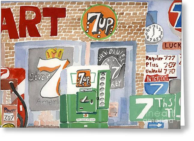 7up Sign Greeting Cards - Seven Greeting Card by Rodger Ellingson