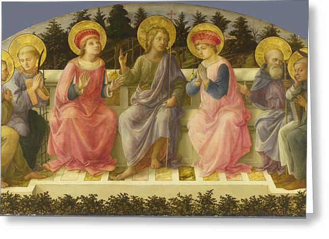 Fra Greeting Cards - Seven Saints Greeting Card by  Fra Filippo Lippi