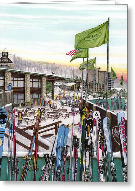 Burton Drawings Greeting Cards - Seven Springs Mountain Resort Greeting Card by Albert Puskaric