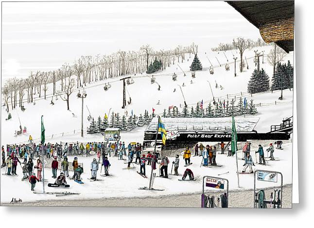 Winter Scenery Greeting Cards - Seven Springs Stowe Slope Greeting Card by Albert Puskaric