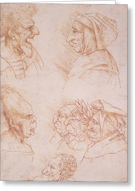 Nose Drawings Greeting Cards - Seven Studies of Grotesque Faces Greeting Card by Leonardo da Vinci