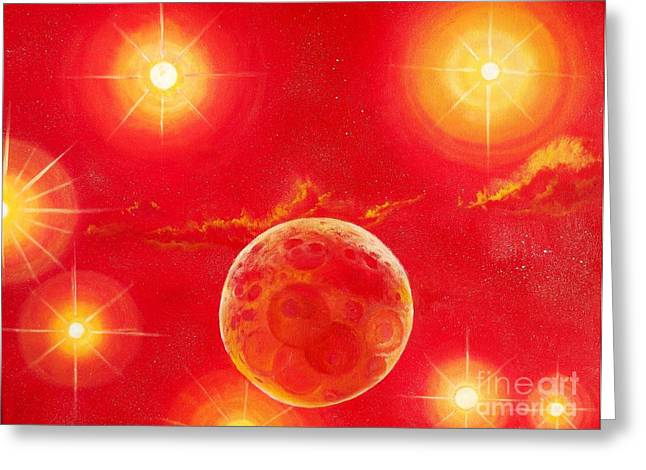 Outerspace Greeting Cards - Seven Suns Greeting Card by Murphy Elliott