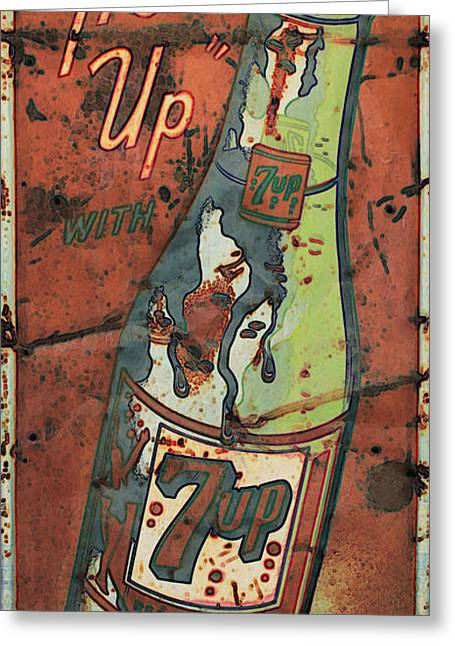 Seven-up Sign Greeting Cards - Seven Up Greeting Card by Douglas Settle