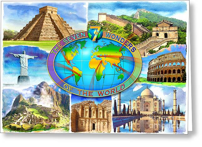 Redeemer Greeting Cards - Seven Wonders of the World Greeting Card by Adrian Chesterman