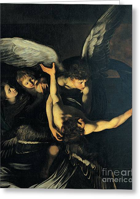 Michelangelo Caravaggio Greeting Cards - Seven Works of Mercy Greeting Card by Caravaggio