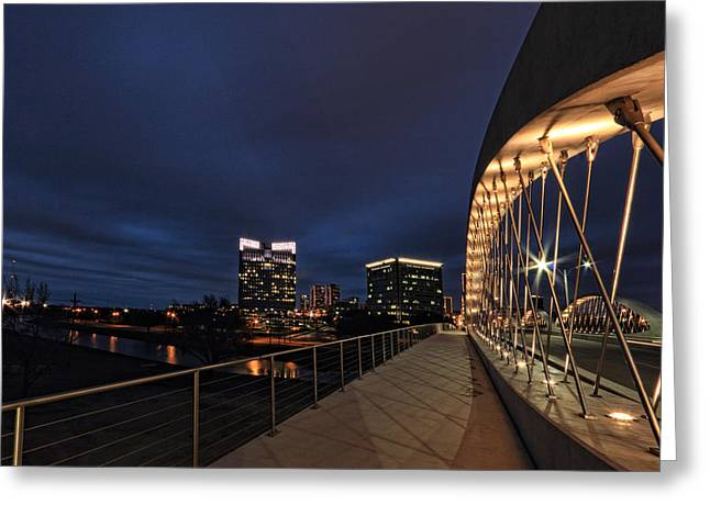 Night-scape Greeting Cards - Seventh avenue Bridge Fort Worth Greeting Card by Jonathan Davison