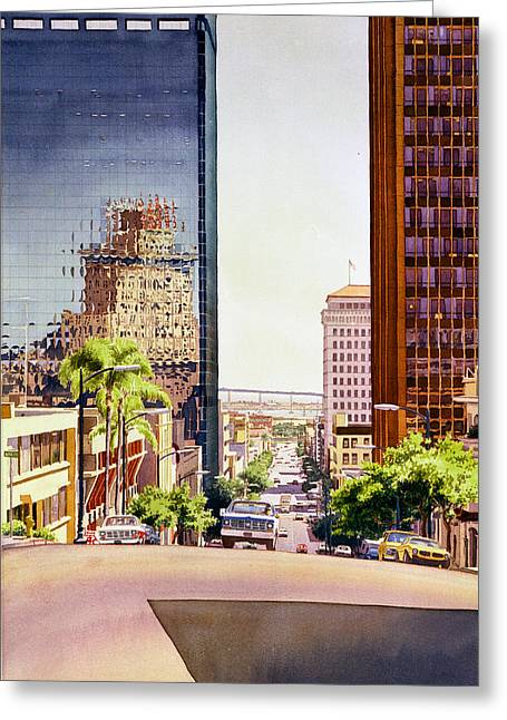 Bay Bridge Greeting Cards - Seventh Avenue in San Diego Greeting Card by Mary Helmreich