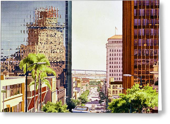 Seventh Avenue in San Diego Greeting Card by Mary Helmreich