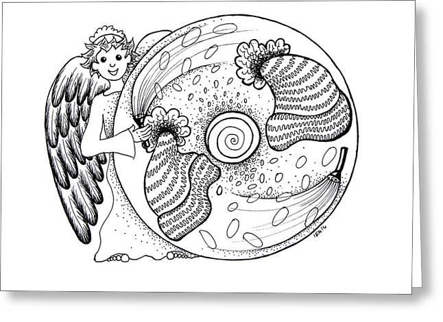 Helix Drawings Greeting Cards - Seventh chakra mandala Greeting Card by Ida  Novotna