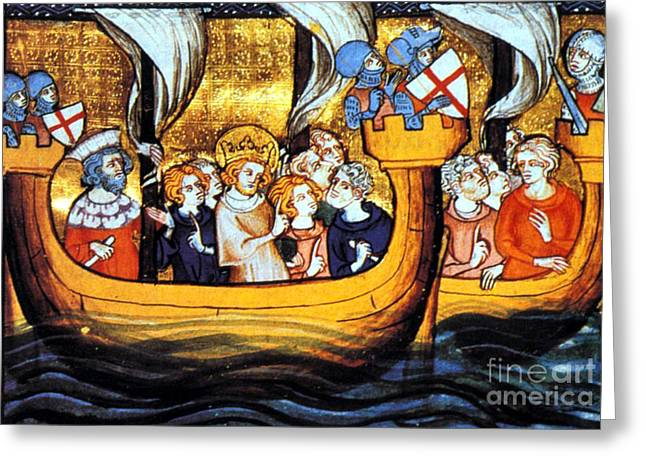 Warship Drawings Greeting Cards - Seventh Crusade 13th Century Greeting Card by Photo Researchers