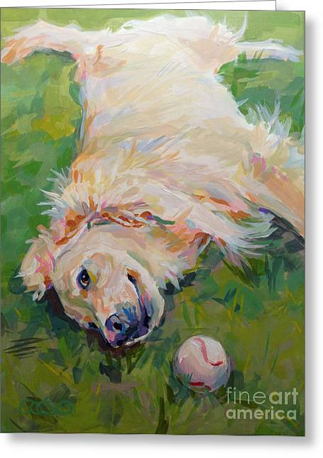 Yellow Dog Paintings Greeting Cards - Seventh Inning Stretch Greeting Card by Kimberly Santini