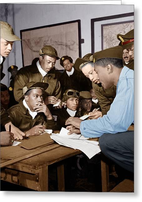 Ramitelli Greeting Cards - Several Tuskegee Airmen at Ramitelli Greeting Card by Adam Asar