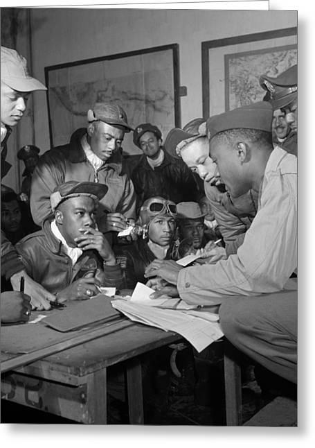 Ramitelli Greeting Cards - Several Tuskegee Airmen at Ramitelli Greeting Card by Celestial Images