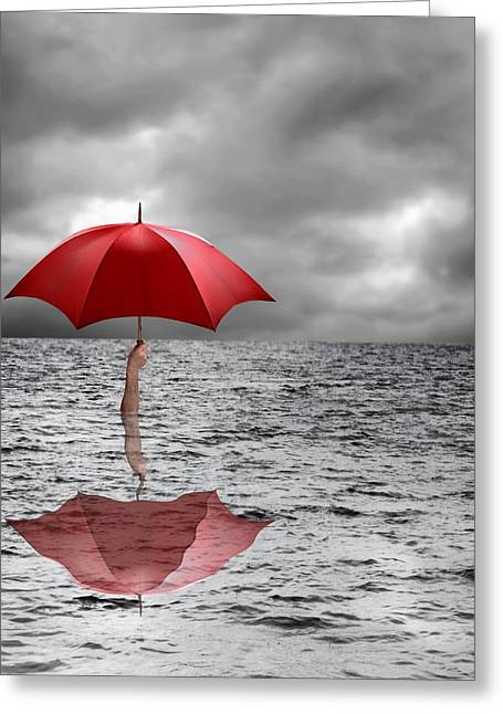 Grey Clouds Greeting Cards - Severe flooding, conceptual image Greeting Card by Science Photo Library