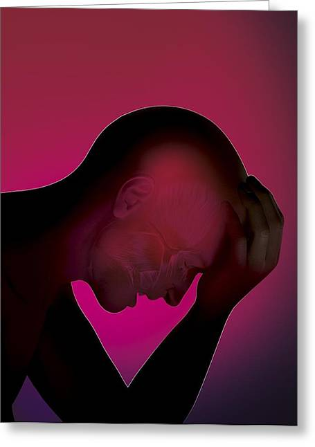 Pulsating Greeting Cards - Severe headache, artwork Greeting Card by Science Photo Library