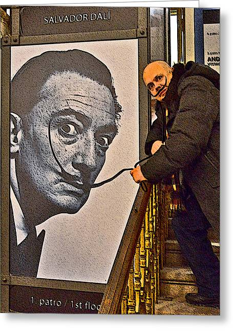 Prague Castle Digital Greeting Cards - Severe Ordeals. Selfie with Salvador Dali  Greeting Card by Andy Za