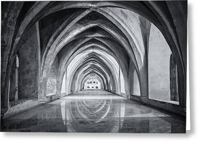 Royal Art Greeting Cards - Baths At Alcazar Seville BW Greeting Card by Joan Carroll