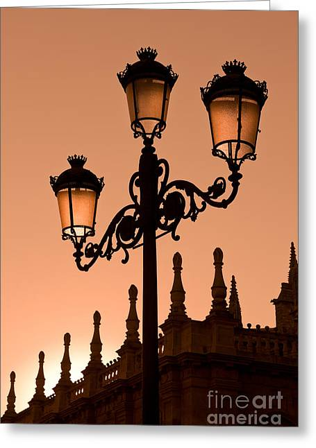 Street Lantern Greeting Cards - Seville Lantern Greeting Card by Rod McLean