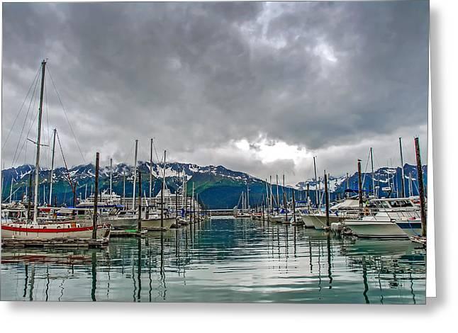 Sailboats Docked Greeting Cards - Seward Harbour Alaska Greeting Card by Patrick Wolf