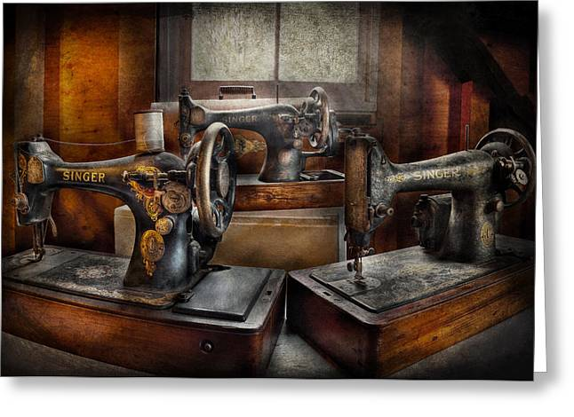 Sewing - A Chorus of Three Greeting Card by Mike Savad