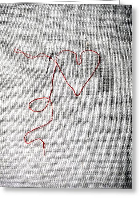 Needles Greeting Cards - Sewing A Heart Greeting Card by Joana Kruse