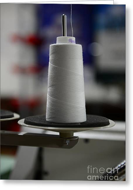 Dressmaker Greeting Cards - Sewing A large Spool of White Thread Greeting Card by Paul Ward
