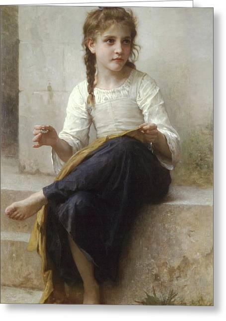 Adolphe Greeting Cards - Sewing Greeting Card by Adolphe-William Bouguereau