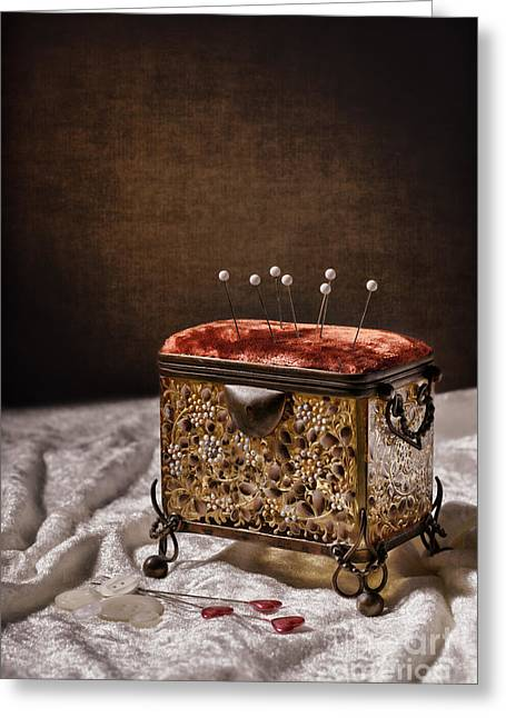 Pin Cushion Greeting Cards - Sewing Box  Greeting Card by Amanda And Christopher Elwell