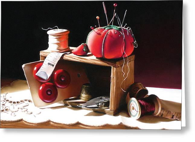 Pin Cushion Pastels Greeting Cards - Sewing Box in Reds Greeting Card by Dianna Ponting