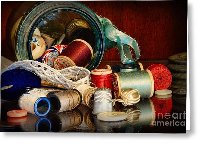 Sewing - Grandma's Mason Jar Greeting Card by Paul Ward