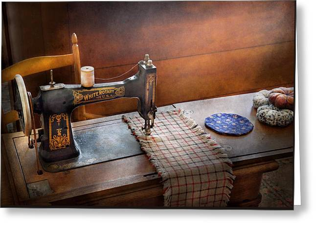 Sewing - It's just Black and White  Greeting Card by Mike Savad