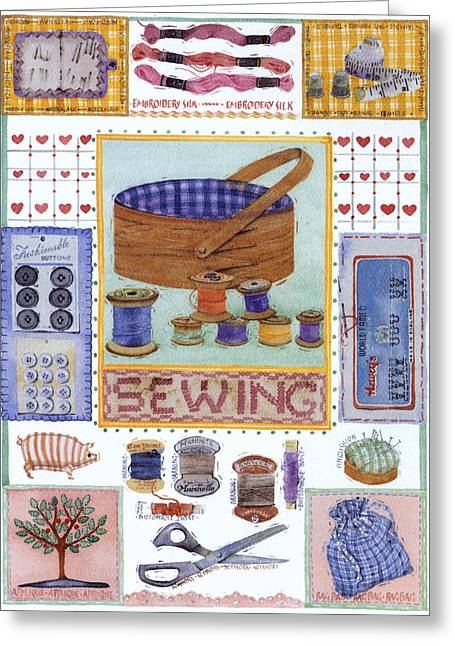 Julia Rowntree Greeting Cards - Sewing Greeting Card by Julia Rowntree