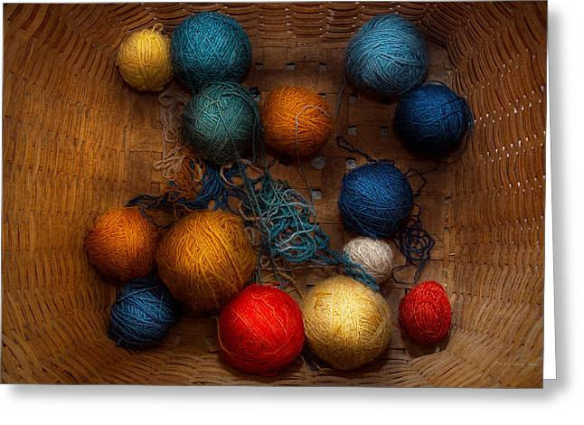 Sewing - Knitting - Yarn for cats Greeting Card by Mike Savad