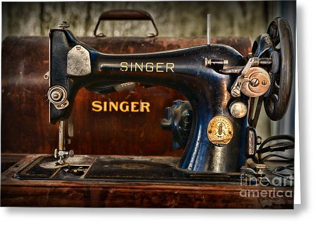 Sewing Hobby Greeting Cards - Sewing Machine by SInger Greeting Card by Paul Ward