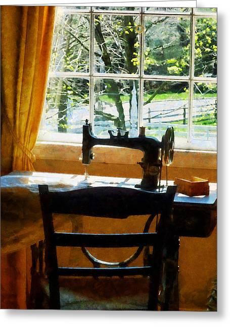 Sewing Machine Greeting Cards - Sewing Machine By Window Greeting Card by Susan Savad