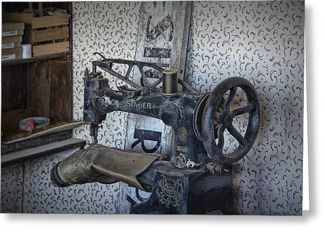Shoe Repair Greeting Cards - Sewing Machine in a Shoe Repair Shop Greeting Card by Randall Nyhof